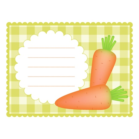 cookbook: Blank checkered card with carrots