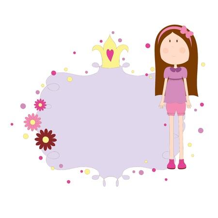 空白のカードとかわいい手描き下ろし女の子 写真素材 - 11958594