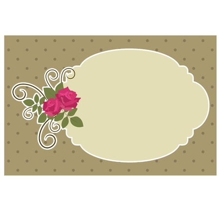 Blank vintage card with roses Vector