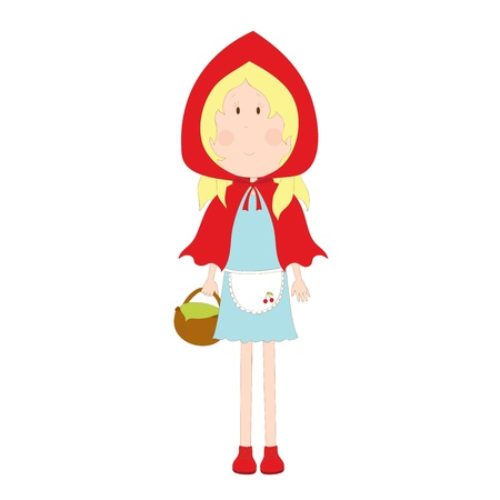 blonde little girl: Hand drawn Red Hood