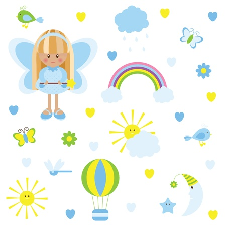 Cute blue sky set Vector