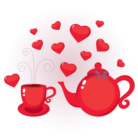 cup: Red teapot and cup with hearts