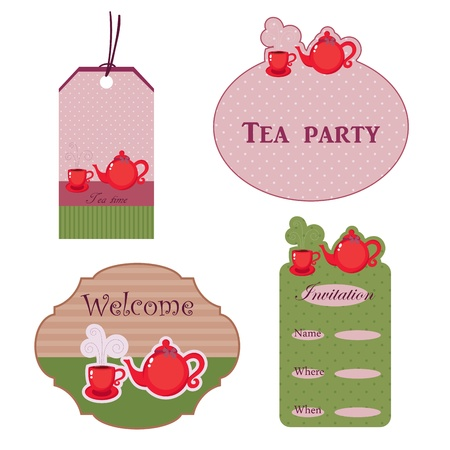 Cute stickers for tea time Vector