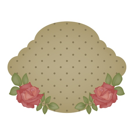 Vintage dotted sticker with roses Illustration