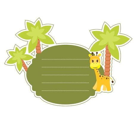 Cute sticker with giraffe and palm tree Vector