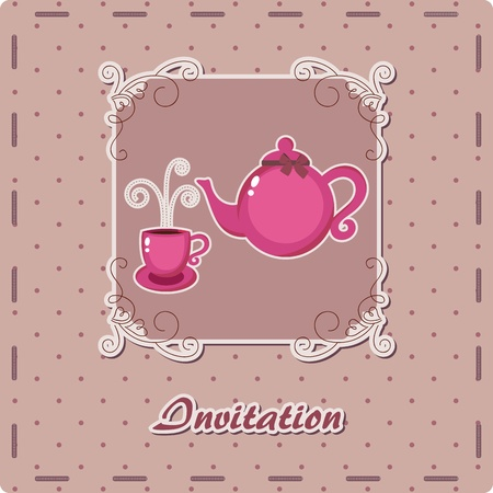 Purple dotted invitation with teapot and cup Vector