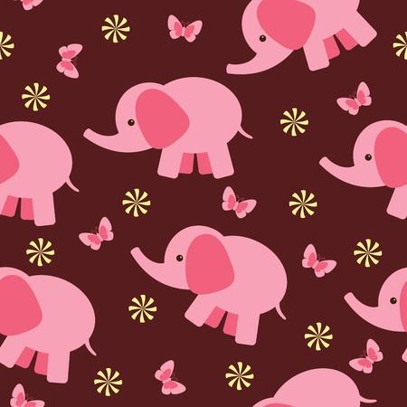 Fondo de pantalla sin problemas con un elefante rosa Foto de archivo - 12065404