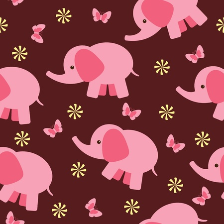 Seamless wallpaper with pink elephant Illustration