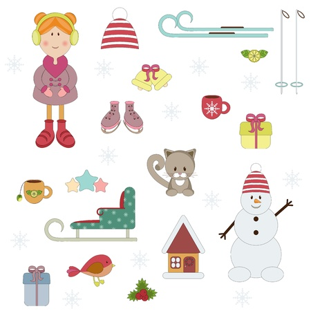Winters holiday set. Isolated Vector