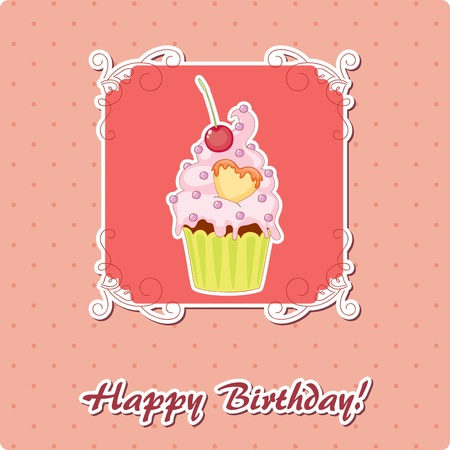 Birthday card with muffin Vector