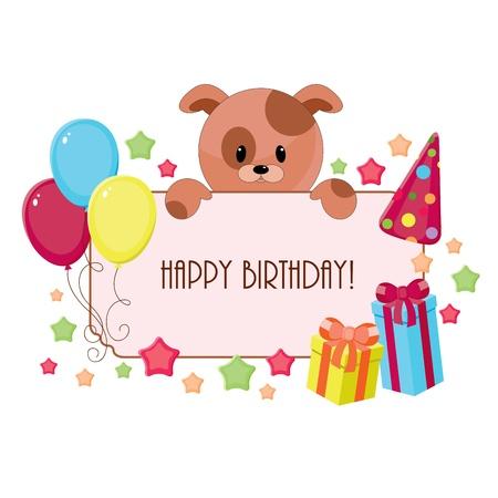 Birthday card with puppy Vettoriali