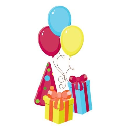 best party: Elementi di compleanno, modello isolato Vettoriali