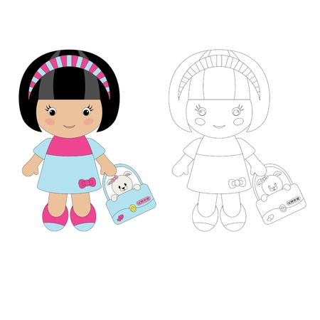 cute baby girls: Coloring for children. Cute girl with her pet