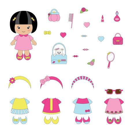 Girlish set of apparel and accessories Vector