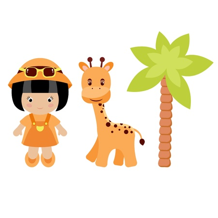 Little girl, giraffe and palm tree, isolated