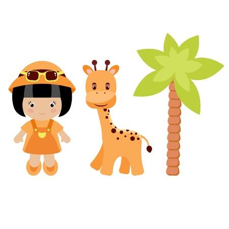 Meisje, giraf en palmboom, geïsoleerd