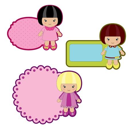 Bunte Sticker mit kleinen Mädchen