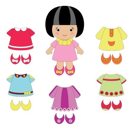 Meisje met haar kleding Stock Illustratie