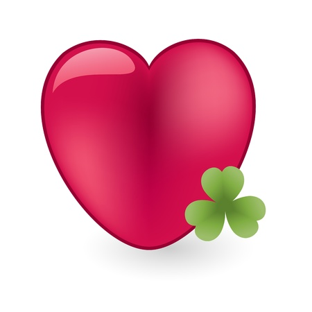 Red heart with green shamrock Vector
