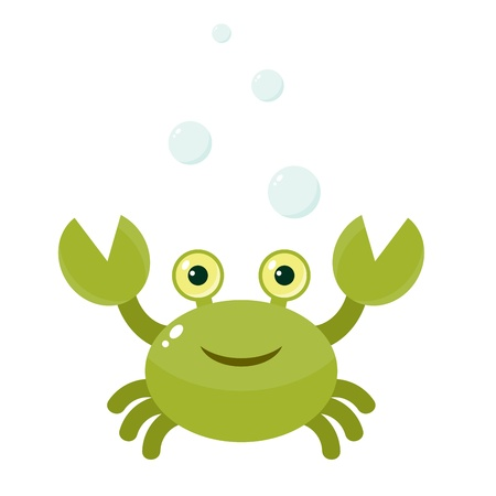 Funny cartoon crab with bubbles