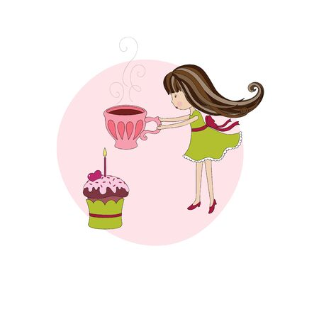 cute baby girls: Little girl on birthday. Hand-drawn illustration Illustration