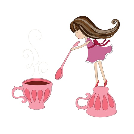The girl stirring hot drink Ilustrace