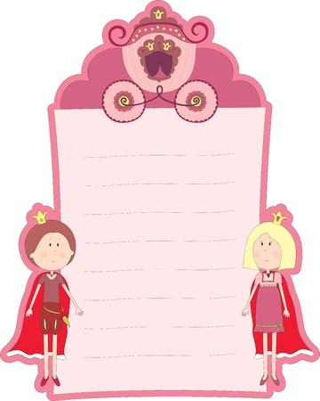 Blanco roze kaart met de prinses en prins