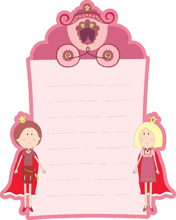 Blank pink card with princess and prince Vector