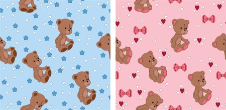 Seamless cute wallpaper with teddy bear Vector