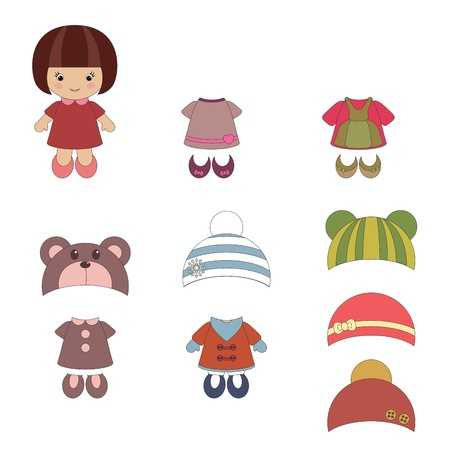 Girlish set of apparel and accessories 일러스트