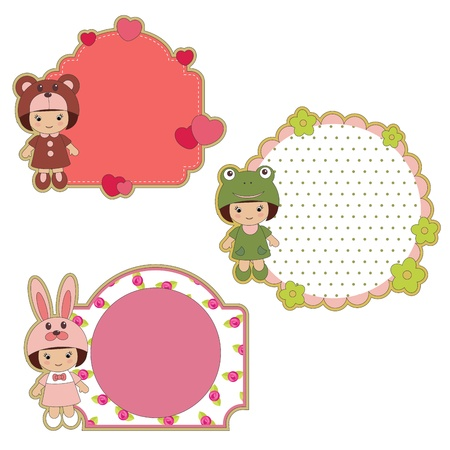 label frame: Colorful stickers with little girls in costumes
