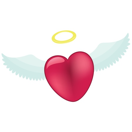 Pink heart with angel wings and nimbus, isolated on white background Vector