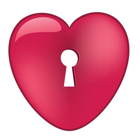 Pink heart with keyhole Illusztráció
