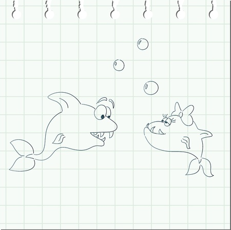 Doodles fishes on checkered paper from notebook
