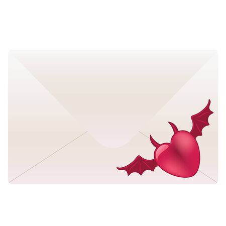 White envelope with red devil heart Vector