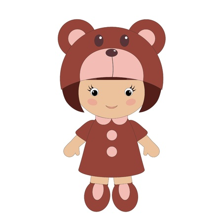 Little girl in bear costume Vector