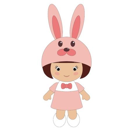 Klein meisje in bunny kostuum Stock Illustratie