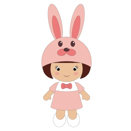 Little girl in bunny costume Vector