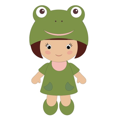cute baby girls: Little girl in frog costume