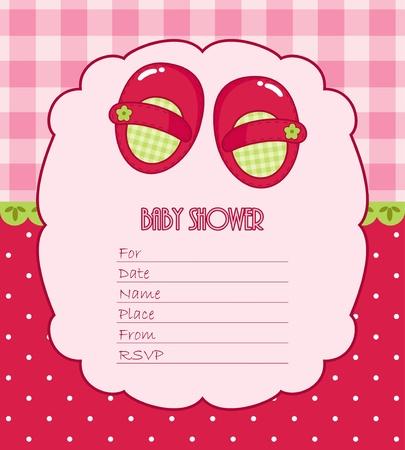 invitacion baby shower: Tarjeta de la ducha de bebé para la muchacha