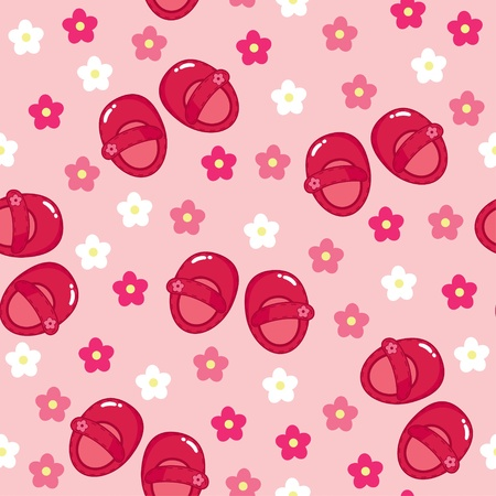 Seamless floral wallpaper with red girl shoes Vector