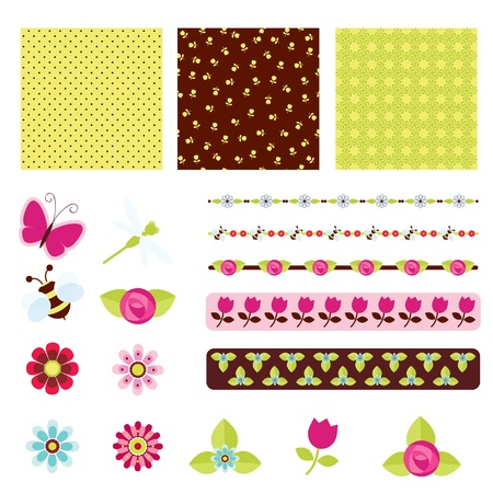 Floral digital scrapbooking Vector