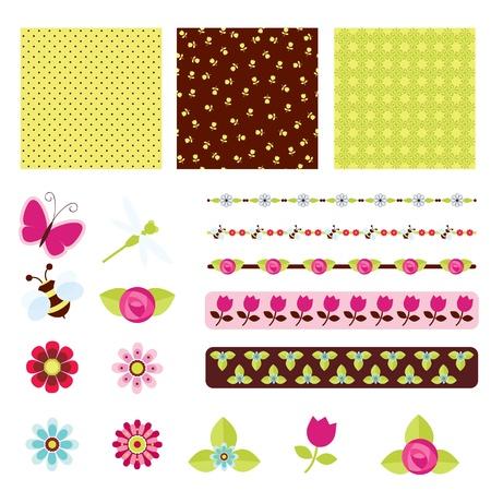 bee on flower: Floral digital scrapbooking Illustration