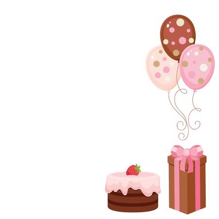 초콜릿 케이크, 선물 상자 및 풍선. 고립 된 요소 일러스트