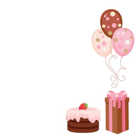 birthday party: Chocolate cake, gift-box and balloons. Isolated elements