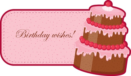 Birthday wishes with chocolate cake Vector