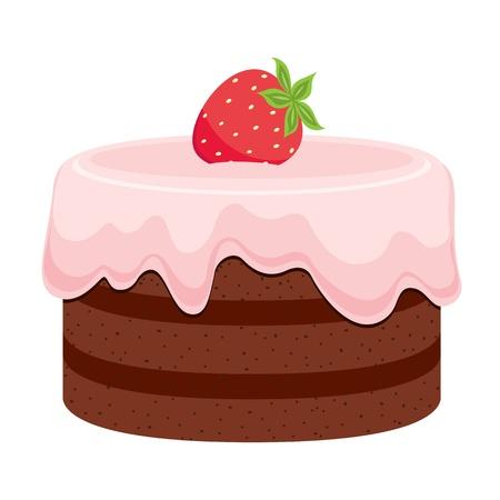 Pastel de chocolate con crema de color rosa y fresa