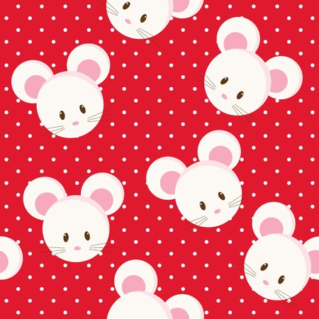 Seamless bright background with cartoon mouse Stock Illustratie