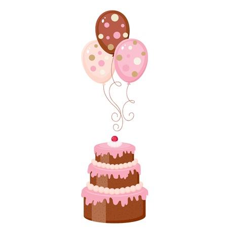 Chocolade taart met ballonnen, geïsoleerd
