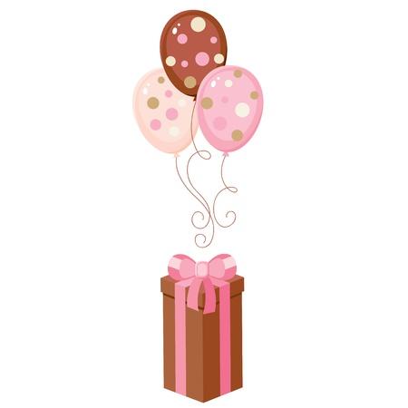 Brown giftbox con palloncini Archivio Fotografico - 12496568